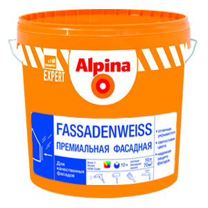 Фасадная краска Альпина Fassadenweiss. База 1 (10л)