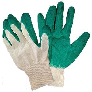 Перчатки зеленые прорезиненные в один слой