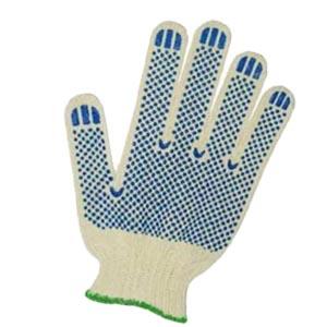 Перчатки х/б белые с пвх покрытием (синяя точка)